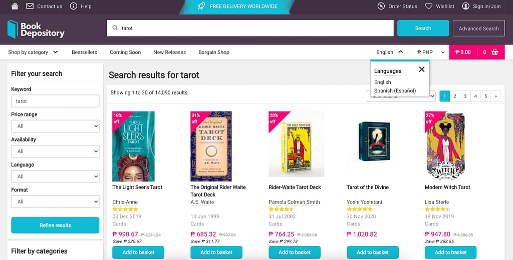 Buy Tarot cards in the Philippines through Book Depository